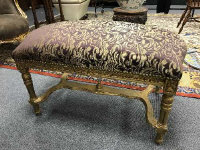 A Louis XV style double dressing table stool, width 93 cm.