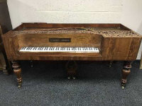 A 19th century mahogany table piano by Hornung & Moller, width 187 cm.