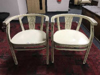 A pair of continental painted armchairs, width 57 cm. (2)