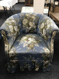 A late 19th century salon chair upholstered in floral fabric, width 80 cm.