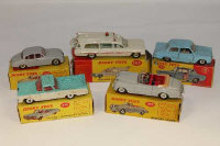 Five Dinky Toys die cast vehicles - Bentley Coupe 194, Superior Criterion Ambulance 263, Ford Consul Cortina 139, Jaguar 3.4 Saloon 195, and a Chevrolet 'El Camino' Pick-up truck, all parts boxed. (5)