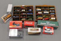 Two wooden display cases containing die-cast model vehicles together with further die-cast, part boxed. (Q)