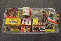 A large quantity of Hornby and other railway model houses and buildings etc., part boxed. (Q)