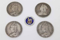 Four Victorian Crowns; 1889 (X2), 1890, and 1894. Together with a 1902 shilling with enamelled decoration to reverse. (5)