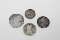 A William III shilling 1697, F, together with a William III sixpence 1696, a Charles I shilling  and a Charles II shilling 1668 (4)