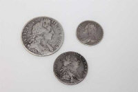 A George III shilling 1787, together with a George II sixpence 1757 and a William III half crown 1697 (3)