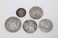 A silver 20 Reales 1859, together with four Victorian and later silver coins. (5)
