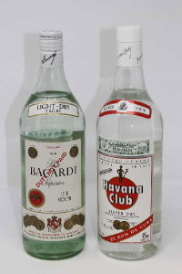 Havana Club - Silver Dry Rum, 1l, together with Bacardi Superior light dry, 1l. (2)
