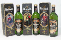 Glenfiddich - Clans of the Highlands of Scotland, Special Old Reserve, single malt Scotch Whisky, 0.75l, Clan Sutherland, Clan Sinclair and Clan Montgomerie, all parts boxed. (3)