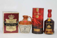 John Munro & Son - King of Kings, De luxe Scotch, in earthenware flagon, together with Berry Bros. & Rudd - Cutty Sark, aged 25 years, all parts boxed. (2)