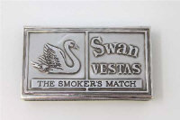 A novelty silver matchbox holder in the form of a Bryant & May Ltd Swan Vesta match box, Alastair Norman Grant, Edinburgh 1977, length 7.5cm