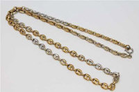 An 18ct gold two-tone chain-link necklace, length 60cm, 54.6g.