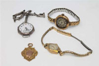 A 9ct gold fob, 4.1g, together with three vintage wrist watches. (4)