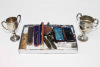 Two silver miniature trophies, together with white metal scent flask, fruit knives, amber cheroot, etc