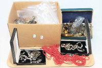 A large quantity of various costume jewellery (on one tray).