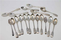 Eighteen Georgian and later silver teaspoons, various dates and makers, 372g. (18)