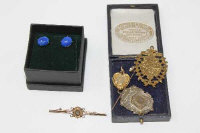 A Victorian gold stick pin, a diamond set gold brooch, two medallions, a memoriam brooch and a pair of earrings set with blue stones.