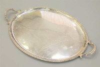 A fine quality Victorian oval silver twin-handled serving tray, maker A M, London 1865, width 62cm, 90ozt