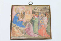 19th century Italian School, after Lorenzo Monaco, The Adoration of the Magi, gouache on ivory, 10cm by 9cm.