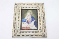 19th century Italian School, The Madonna and Child, gouache on ivory, within an ivory and penwork frame, signed Del Veccio, 8cm by 11.5cm.