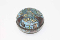 A 19th century Chinese cloisonne circular lidded trinket box.