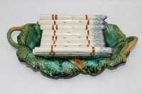 A 1930's French majolica twin-handled asparagus dish, width 38cm.