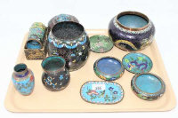 A collection of late 19th/20th century Chinese cloisonne enamel bowls, vases, napkin rings etc (Qty)