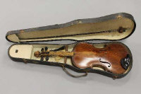 A mid twentieth century violin and bow, labelled within F. Gray, Stanhope 1962, back length 14 inches.