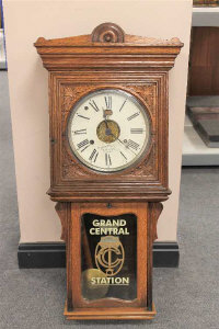 A Victorian carved oak 8 day wall clock, height 99cm.