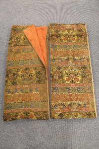 A pair of 19th century French tapestry curtains with gold metal thread, each 256cm by 117cm.