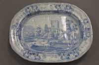 A 19th century Staffordshire blue and white meat plate, beauties of England and Wales, diameter 53 cm.