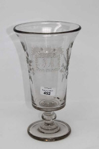 A 19th century etched glass celery vase, height 27 cm.