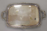 A large early 20th century silver plated butler's tray on squirrel square feet, width 77 cm.