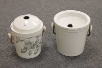 Two antique slop pails, decorated with flowers. (2)