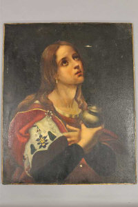 19th Century School, Joan of Arc, oil on canvas, 65 cm by 60 cm, on stretcher, unframed.
