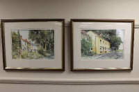 Eric Thompson (contemporary), a pair of watercolours depicting Shincliffe, County Durham, signed, 37cm by 25cm.