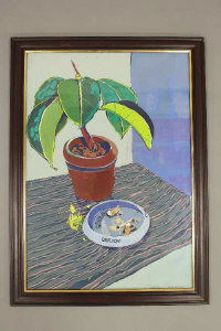 Christine McArthur RSW RGI (Scottish, Born 1953), still life of a plant pot and ashtray, oil, signed, 41cm by 59cm.