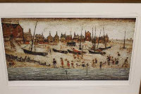 After Laurence Stephen Lowry RA (1887-1976), The Beach, colour print, limited edition, 96 cm by 50 cm, produced by Chelsea Green Editions, with certificate of authenticity.