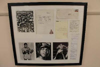 A fascinating and personal archive of letters and photographs sent by Muhammad Ali and addressed to Johnnie Gregory of Newcastle Upon Tyne, several personally signed by Ali, framed as a montage, 79.5cm by 69cm.