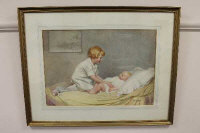 Ernest Longmate (fl.1916-34), A young child caring for a baby, watercolour, signed, 55cm by 38cm.