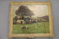 Henry Herbert La Thangue R. A. (1859 - 1929) : Sheep grazing in a paddock, with a hay cart and farm buildings beyond, 62 cm by 75 cm.<BR>** Henry Herbert La Thangue was an English realist rural landscape painter associated with the Newlyn School.