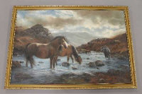 John Trickett (b.1953), Highland ponies watering, oil on canvas, signed, 90cm by 60cm.