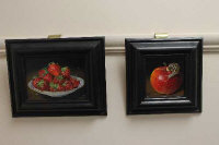 Susan Hearson S.B.A. (British Contemporary), still life of a snail on an apple, together with a still life of strawberries in a bowl, oil on board, both signed, 9cm by 9cm and 14cm by 9cm respectively. (2)