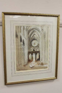 Victor Noble Rainbird (1887-1936), Durham Cathedral, watercolour, signed, 34cm by 26cm.