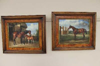 A. Melive (?) (20th century), a pair of equestrian studies, oil on board, 24cm by 19cm.