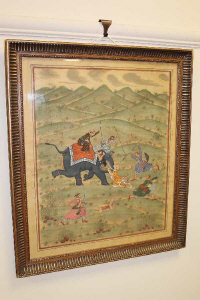 Indian School (Late 19th/20th century), A tiger hunt, gouache on silk, 51cm by 42cm.