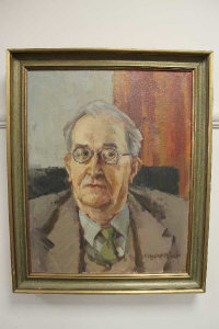 Margaret Peach (20th century), a portrait of an elderly gentleman, oil on canvas, signed, 39cm by 49cm.