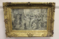 Early 19th century school, after Raphael, Sacrifice at Lystra, pencil, 51cm by 31cm.