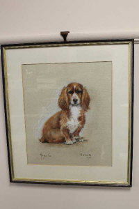 Marjorie Cox (1915-2003), 'Sugar', portrait of a King Charles Spaniel, pastel, signed and dated 1975, 40cm by 34cm.