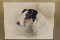 Rueben Ward Binks (1880-1950), Portrait study of a terrier, watercolour, signed and dated 1914, 33cm by 25cm.